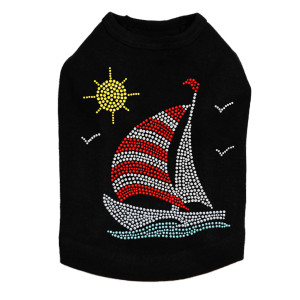 Sailboat - Rhinestone & Nailhead dog tank for small and big dogs