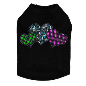 Leopard, Checks, & Stripes Multicolor Hearts - Dog Tank