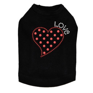 Small Love Polka Dot Heart - Dog Tank