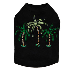 Palm Trees - Green Rhinestones dog tank for small and big dogs
