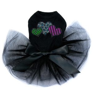Leopard, Checks, & Stripes (Multicolor) Hearts - Dog Tutu