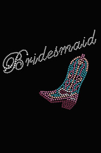 Bridesmaid with Pink/Turquoise  Cowboy Boot- Women's T-shirt