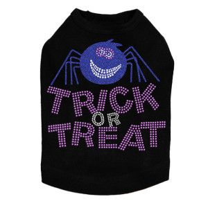 Trick or Treat with Blue Glitter Spider - Dog Tank