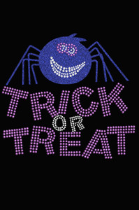 Trick or Treat with Blue Glitter Spider - Women's Tee