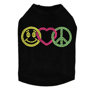 Smiley Face, Love, Peace Dog Tank