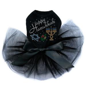 Happy Hanukkah - Dreidel, Menorah and Star of David - Tutu