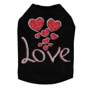 Love with Red Glitter Hearts - Dog Tank