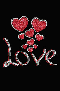 Love with Red Glitter Hearts - Women's Tee