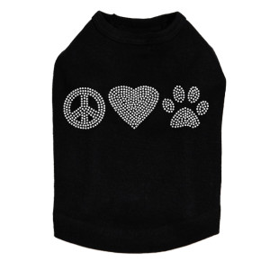 Peace, Love, Paw (Rhinestone) Dog Tank