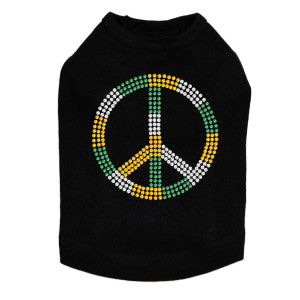 Peace Sign (Green, Gold, & Clear) Dog Tank