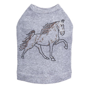 Horse (Brown Rhinestuds) Dog Tank