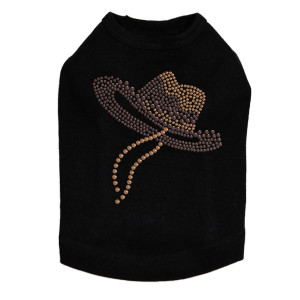 Hat (Brown Cowboy) Dog Tank