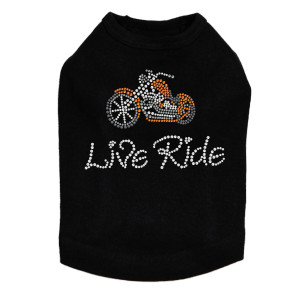 Live - Ride - Orange Motorcycle - Dog Tank