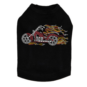 Motorcycle - Red with Flames - Dog Tank