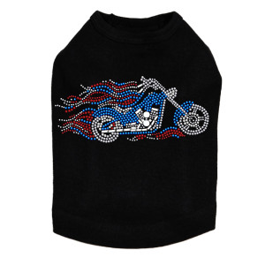 Motorcycle - Large Red, White, & Blue with Flames - Dog Tank