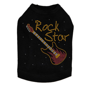 Rock Star with Red & Gold Guitar Dog Tank