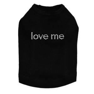 Love Me rhinestone dog tank for large and small dogs.