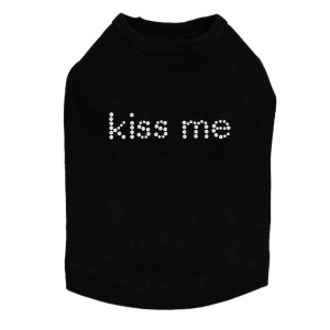 Kiss Me rhinestone dog tank for large and small dogs.