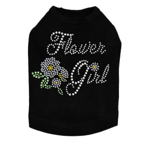"Flower Girl rhinestone dog tank for large and small dogs. 4.5"" X 3.5"" (small) & 9"" X 7.5"" (large) design with clear, silver, yellow, & green rhinestones & nailheads. Matching rhinestone t-shirts for pet owners. Over 800 rhinestone designs to choose from."