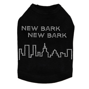 New Bark, New Bark rhinestone dog tank for large and small dogs.