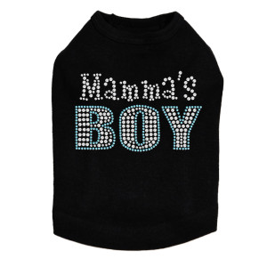 Mama's Boy rhinestone dog tank for large and small dogs.