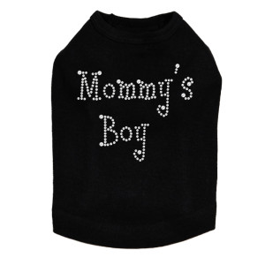 Mommy's Boy with Red Heart rhinestone dog tank for large and small dogs.