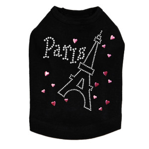 Paris with Ethel Tower rhinestone dog tank for large and small dogs.