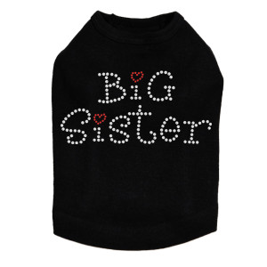 Big Sister rhinestone dog tank for large and small dogs.