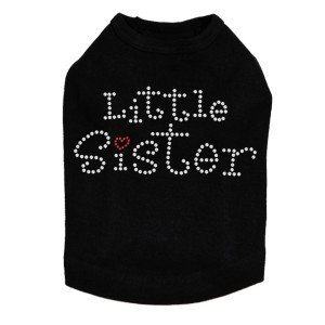 Little Sister rhinestone dog tank for large and small dogs.