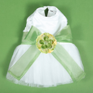 The Madeleine Dog Harness Dress with Leaf Green Sash