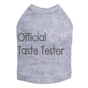 Official Taste Tester rhinestone dog tank for large and small dogs.
