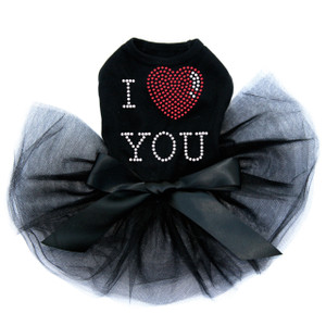 I Love You # 1 black dog tutu for large and small dogs.