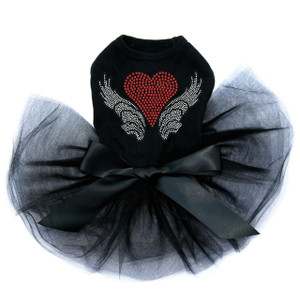 Heart with Wings #2 black dog tutu for large and small dogs.