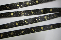 "Black with Gold Star Deer Print 3/4"" - 1 YARD"