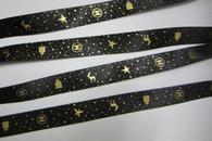 "Black with Gold Star Deer Print 3/4"" - 1 YARD"