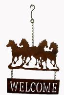 "Metal horses welcome hanging decor 10""x16""H (min 2, 24/carton)"