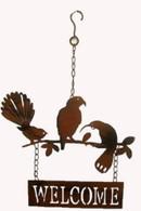 "Metal birds welcome hanging decor 10.5""x16.5""H (min 2, 24/carton)"