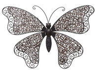 "Hand Crafted Iron & Rattan butterfly wall decor 28""x3""x19""H"