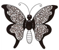 "Hand Crafted Iron & Rattan butterfly wall decor16""x2.5""x16""H"