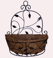 "Metal wall decor planter with coco liner 13.5""x5""x14.5""H"