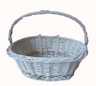 "White willow bicycle basket with folding handle and metal hanging brackets 17""x12""x6""Hx12""H (with handle)"