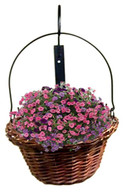 "Willow hanging basket with Wall mount hook, planter size 12""Dx8""H - Wall mount hook 18""H"