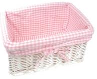 "Rectangular white willow basket w/pink fabric liner 15""x10""x7""H (min 2 , 30/crtn)"