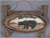 "Wood slice on twig frame w/bear resin applique,11""x8""H (min 2)"