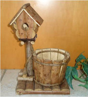 "Planter with birdhouse 7""x4""x12""OH (min 2)"
