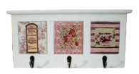"""Wooden & Ceramic wall Décor with hooks 15""""x6.5""""H (min. 2)"""