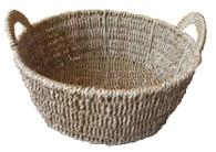 Round natural seagrass basket w/handles
