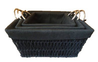 S/3 black seagrass baskets with black fabric liner & metal handles