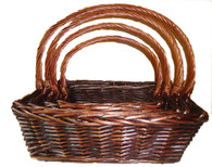 "Set/4 Rectangular willow baskets with handles  XL:20""x16""x7""Hx22""OH L:18""x14""x6""Hx20""OH M:15""x11""x5""Hx17""OH  S:13""x9""x4""Hx14.5""OH"