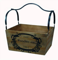 """Wood & iron container 15""""x12""""x8""""H  (min.1, 6/crtn)"""